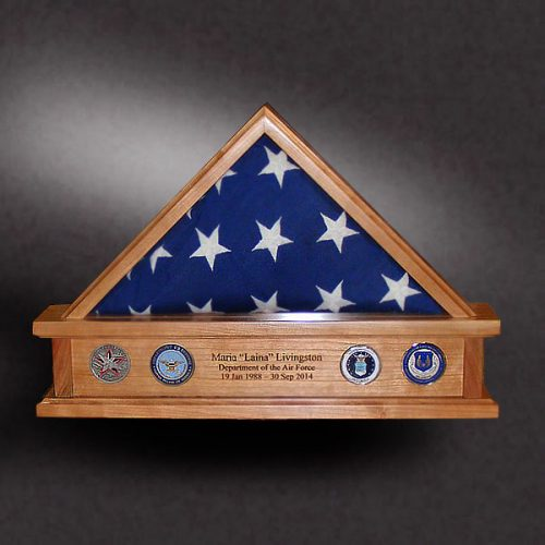 3x5 cherry flag box with mounted challenge coins