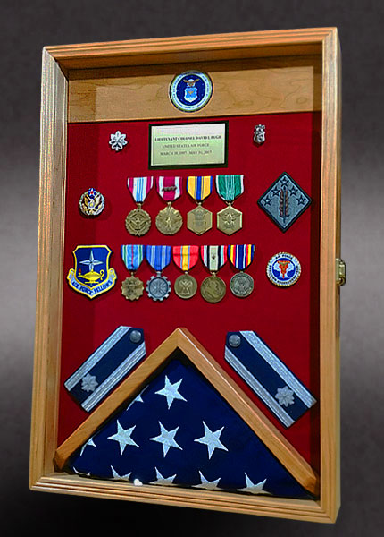 Cherry wood Shadow Box with Flag