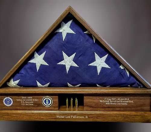 Walnut Memorial Flag Case with Laser Engraving and Shell Casings
