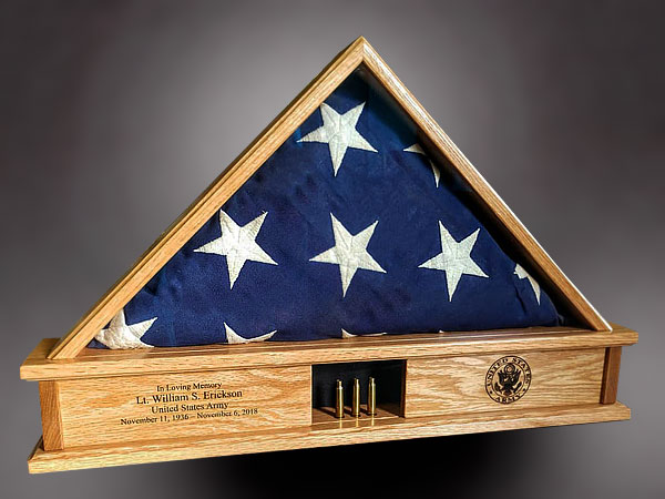 Red Oak Memorial Flag Case with shell casings
