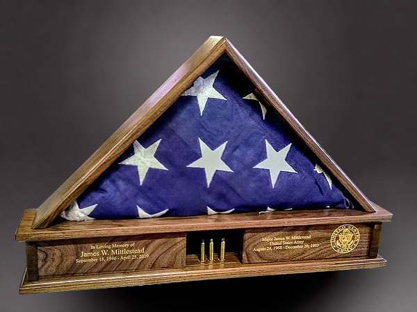 Walnut memorial flag display case with shell casings