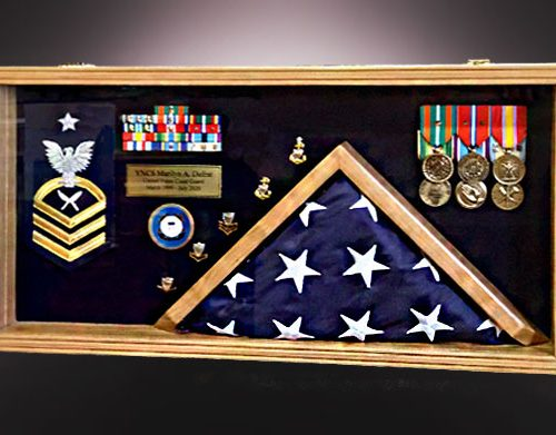 Cherry Shadow Box with 3x5 Flag
