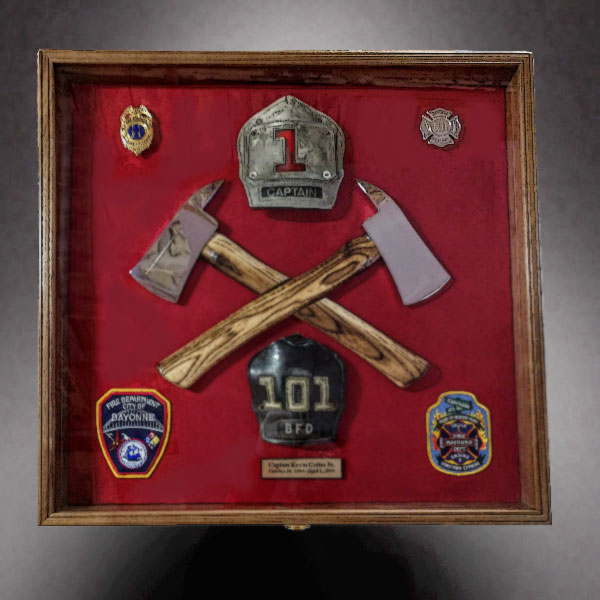 Fire Department Retirement shadow box with crossed axes
