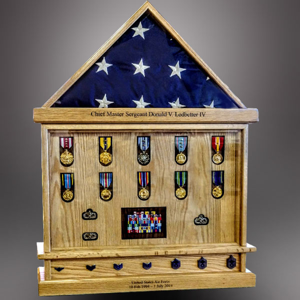 Oak Flag Case for Coast Guard Retirement