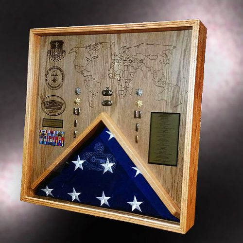 Oak Shadow Box with Flag and Laser Engraving