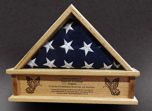 Red Oak Flag Box with laser engraving