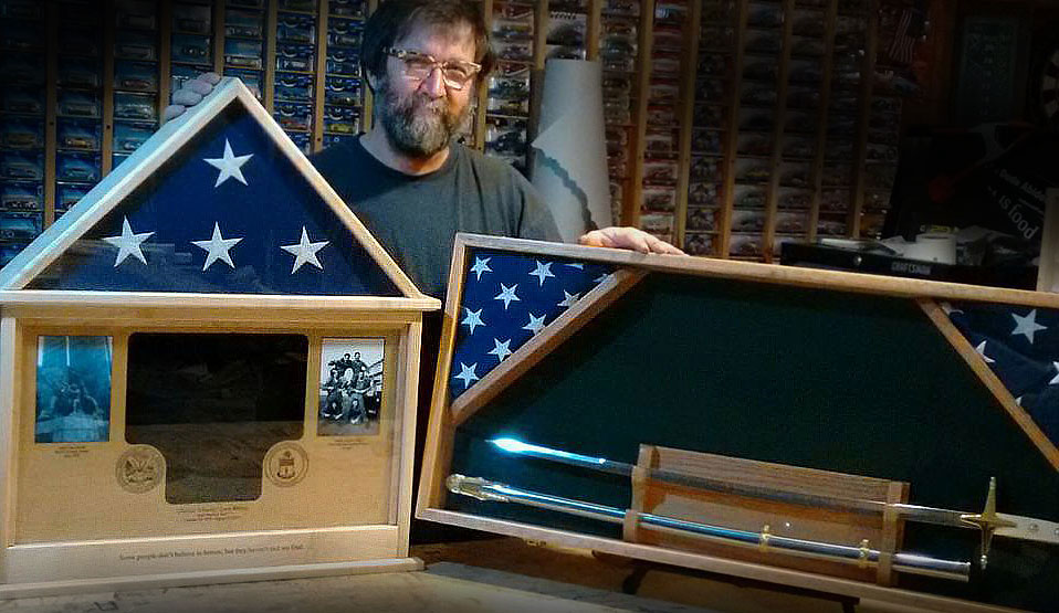 Custom wood shadow boxes and flag display cases by Greg Seitz Woodworking
