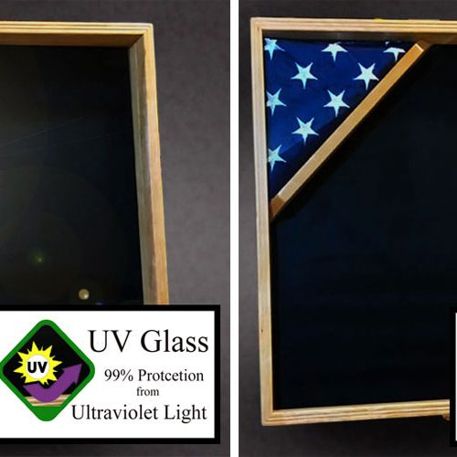 Glass options for shadow boxes and flag cases