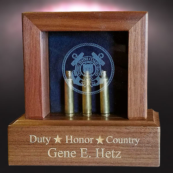 Walnut Box for Shell Casings from a funeral with Military Honors