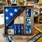 Walnut flag case with photos and mat