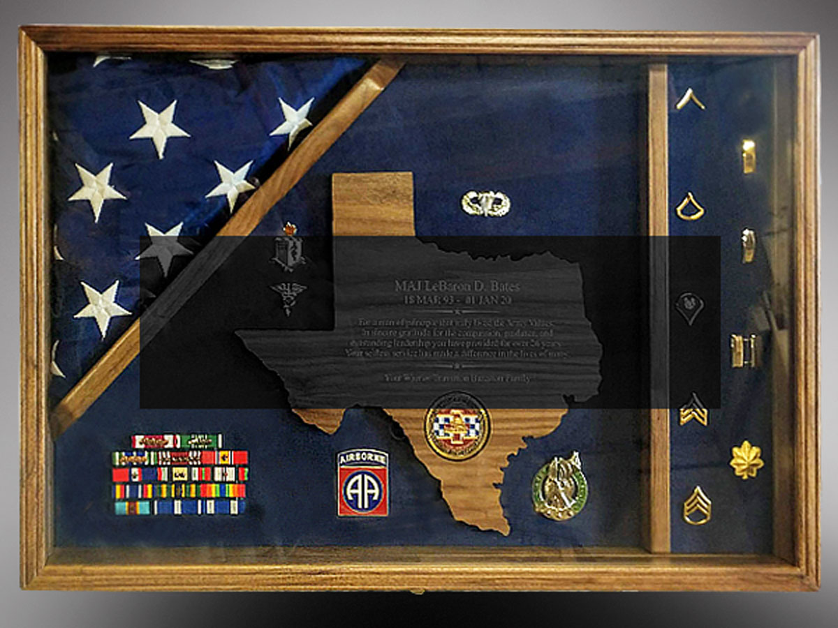 shadow box for Texas Air Borne Retirement