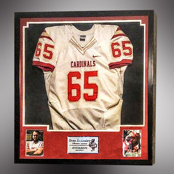 Shadow box for Otterbein Cardinals Football Jersey