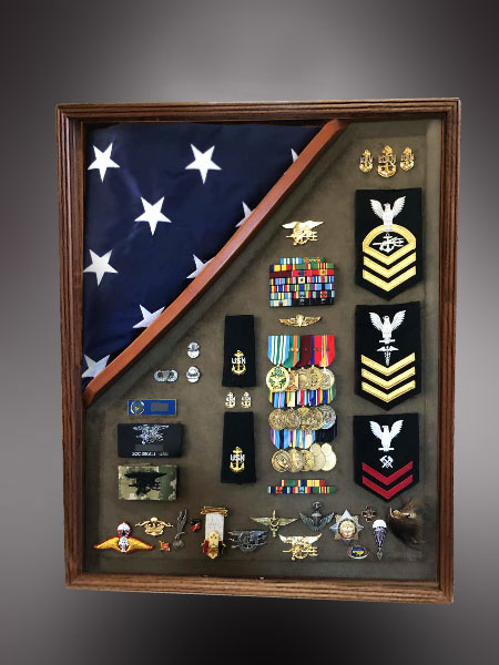 Walnut Shadow Box with 5x8 Flag
