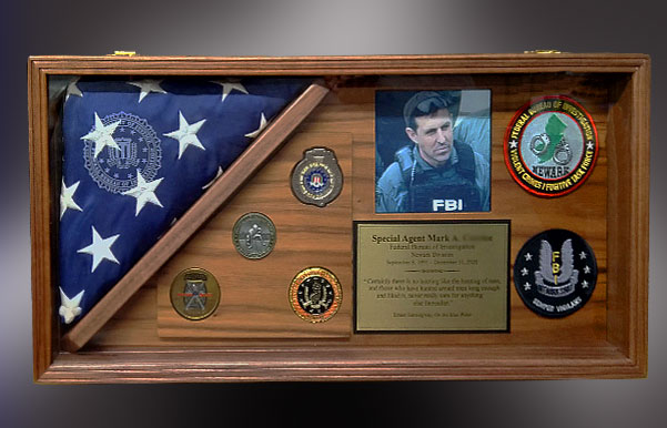 Walnut Shadow box for FBI Retirement