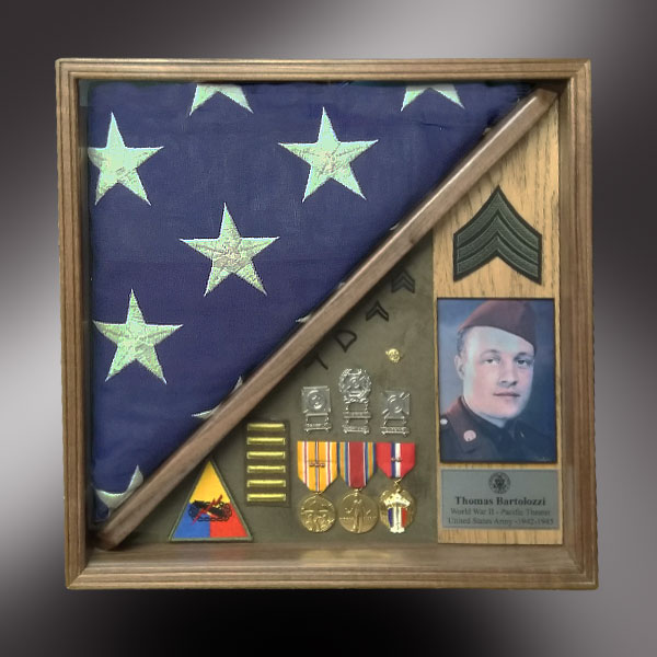 Shadow Box with medals and Memorial Flag