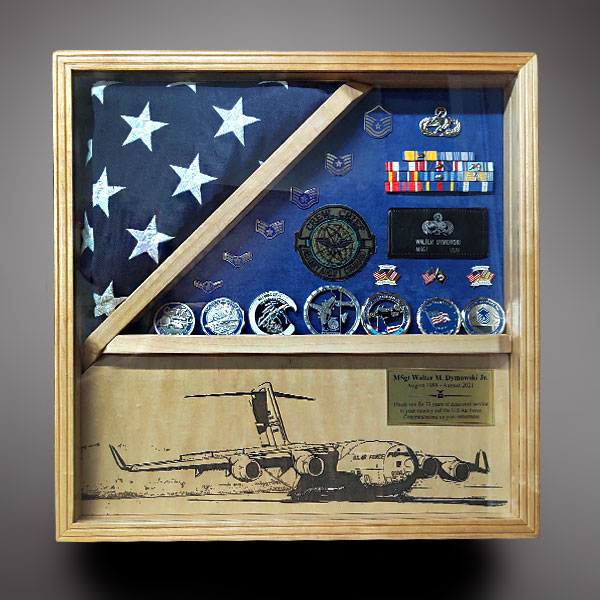 Air Force Shadow Box with C-17 Engraving